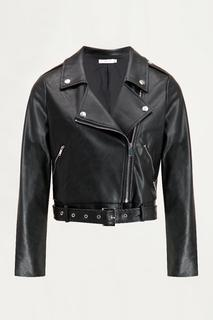 Zwarte biker jas leatherlook