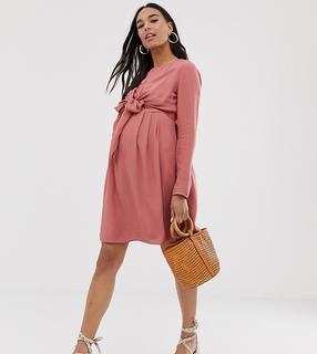 ASOS DESIGN - Zwangerschapskleding - Mini-wikkeljurk voor borstvoeding met lange mouwen in roze