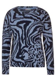 T-shirt met boothals en zebraprint