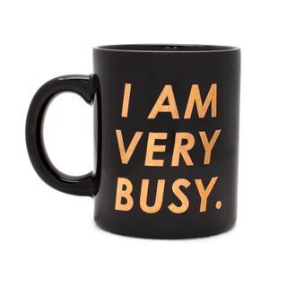 Koffiemok. I am very busy. Zwart. Goud.