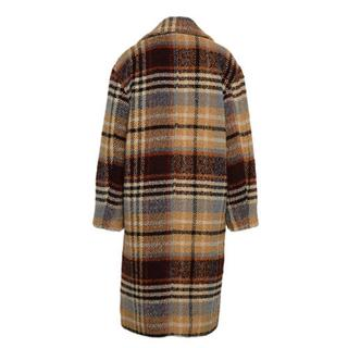geruite coat met wol beige/ blauw