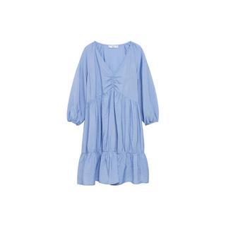 A-lijn jurk met ruches lichtblauw