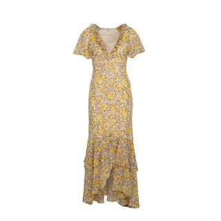 jurk met bloemenprint ecru/geel/lavendel