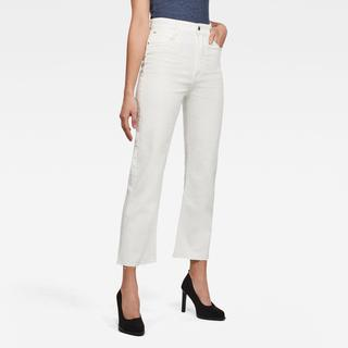 Tedie Ultra High Straight Ripped Edge Ankle Jeans - Straight Fit - Taillehoogte Hoog