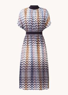 Samii midi jurk met grafische print en splitten