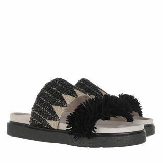 Slippers - Raffia Sandals in zwart voor dames