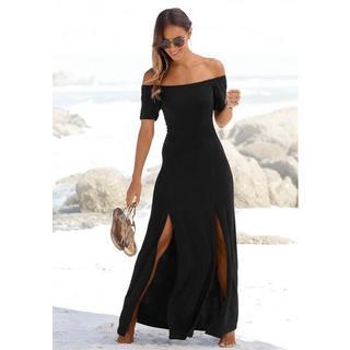 Maxi-jurk met lang splitje onder in de pijpen