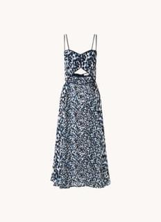 Nerissa midi jurk met print en cut-out detail