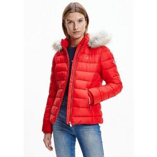 gewatteerde jas met imitatiebont aan de capuchon & -merklabel