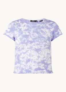 Cindy cropped T-shirt in biologische katoenblend met tie-dye dessin