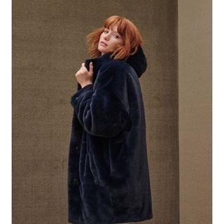 Nori Oversized Faux Fur Jas voor Dames in Smoky Blue