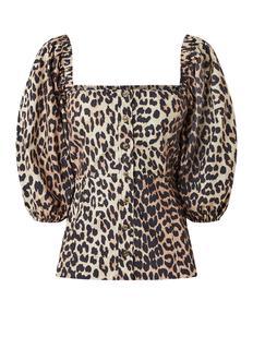 Off shoulder top van poplin katoen met luipaard print