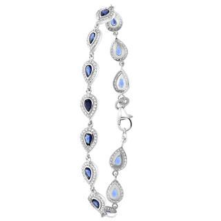 Zilveren armband druppels met blauwe zirkonia