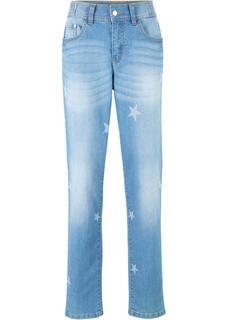 Dames boyfriend jeans met sterren in blauw