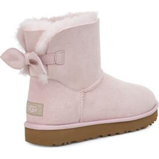 Suede Mini Bow Laarzen voor Dames in Seashell Pink