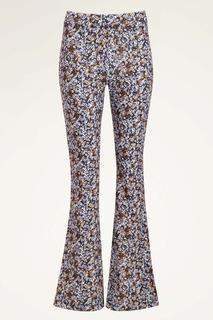 Lila flared pants met bloemen