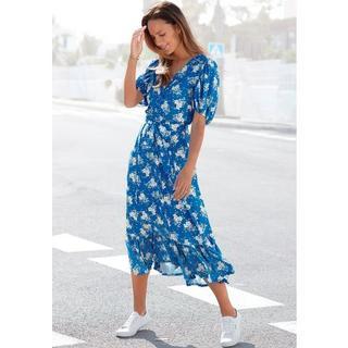 maxi-jurk met bloemenprint (Met een bindceintuur)