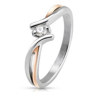 Twisted - Stijlvolle dames ring van zilver en roségoud