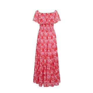 on-off shoulder smock maxi jurk met bloemenprint rood