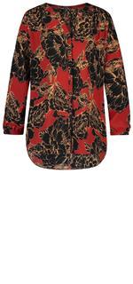 Pintuck Blouse met rood-zwarte bloemenprint