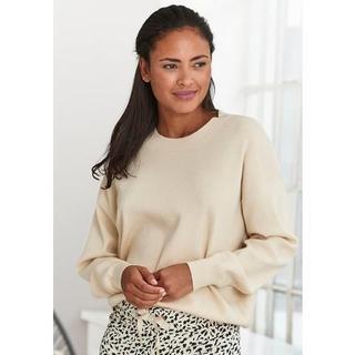 Sweater met ronde hals en ribboorden