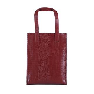 My Paper Bag Long Handle Zip Croco Burgundy