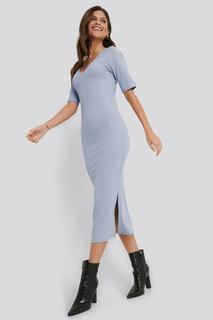Ribbed V-Neck Jersey Midi Dress