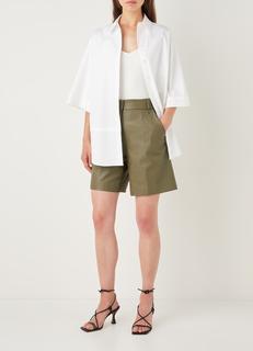 Bijouu high waist straight fit korte broek van imitatieleer