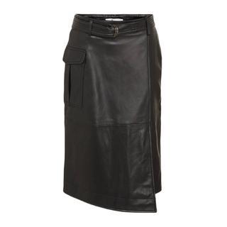 leren midi rok Echo parc skirt met ceintuur zwart