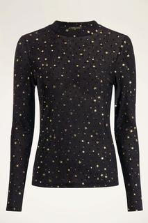 Zwarte mesh top met goudkleurige sterren