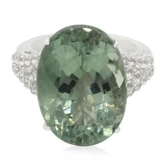 Zilveren ring met een Esperanza Groene Amethist