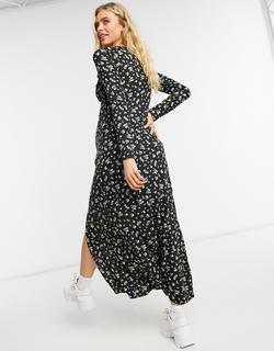 ASOS DESIGN Maternity - Lange jurk met overslag en split aan de voorkant en zwarte bloemenprint-Geel