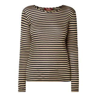 Shirt met lange mouwen van viscose met streepmotief
