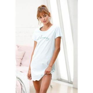 Nachthemd met streepdessin met rimpelrandjes