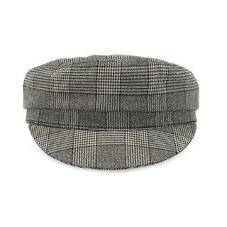 Checked flat cap