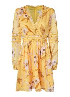 Posyy mini jurk met bloemenprint en semi-transparante mouwen