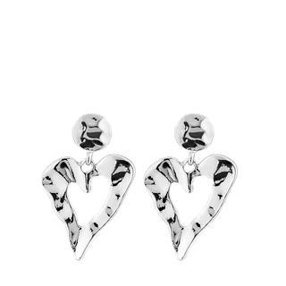 Zilverkleurige byoux oorbellen hart