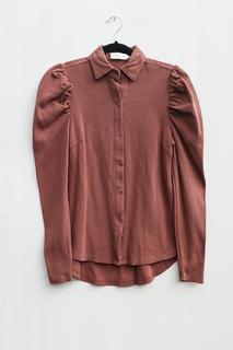 duurzame blouse met pofmouwen in ribstof
