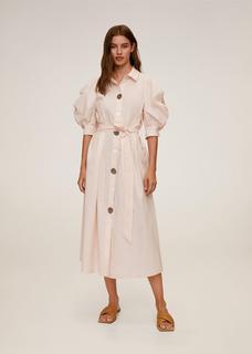 Popeline jurk met knopen