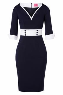 50s Margie Pencil Dress in Navy