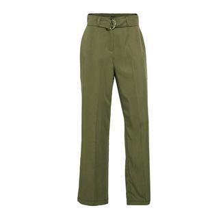 high waist straight fit pantalon kaki