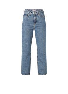 High waist straight fit jeans met acid wassing