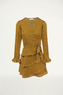 Gele overslag jurk stippen