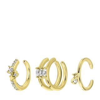 Zilveren goldplated set van 3 earcuffs zirkonia