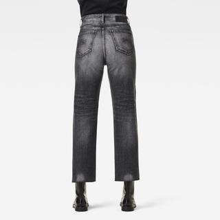 Tedie Ultra High Straight Raw Edge Ankle Jeans - Zwart - Dames