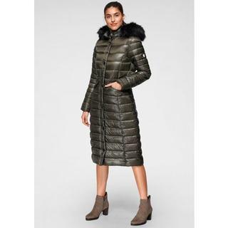 Gewatteerde jas met afneembaar beleg van imitatiebont en modieuze imitatieleren details voor een klassieke en tegelijkertijd coole outfit