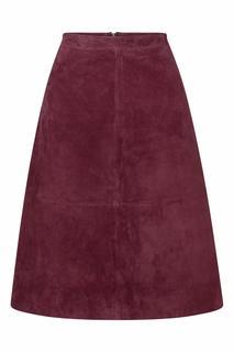 60s Juno Suède Skirt in Beet Red