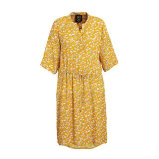 gebloemde jurk geel/wit/zwart