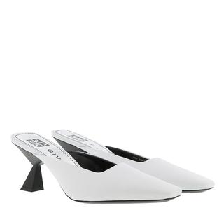 Pumps - Asymmetrical Heeled Mules Leather White in wit voor dames - Gr. 41 (EU)