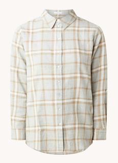 Fabina longline blouse met ruitdessin